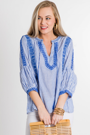 Stripes Embroidered Top, Blue