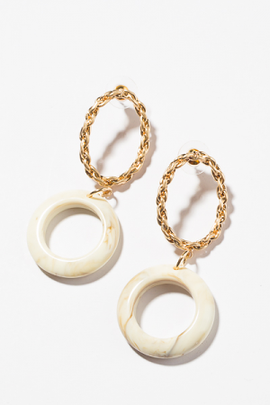 Twisted Ring Earring, Ivory