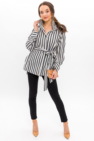 Belted Stripe Tunic, Black