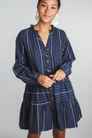 Navy Stripes Button Dress
