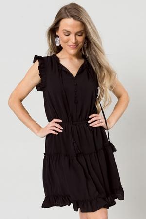 Crepe Ruffle Trim Dress, Black