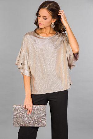 Solid Gold Ruffle Top