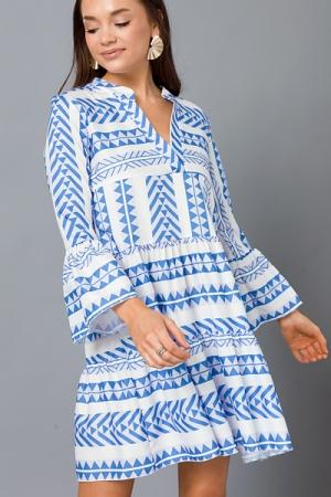 Pyramid Tiered Dress, Blue