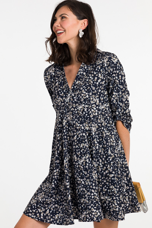 Collared Floral Dress, Navy