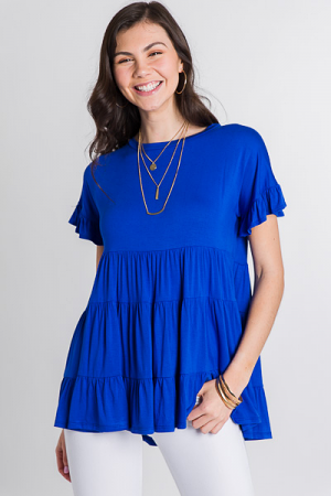 Tiered Knit Top, Royal