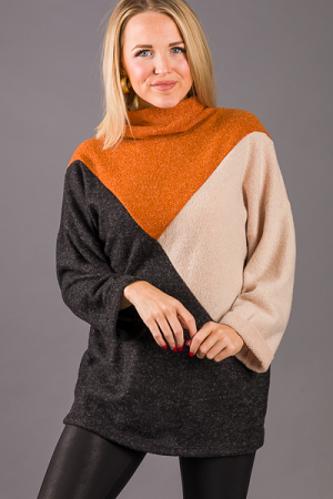 Triangulate Cowl Neck Sweater