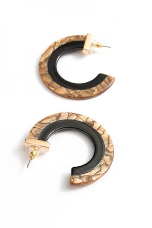 2-Tone Acrylic Flat Hoops, Brown