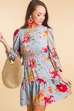 Romantic Floral Dress, Blue