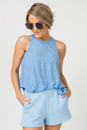 Solid Sweat Shorts, Sky Blue