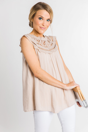 Crochet Shoulders Top, Taupe