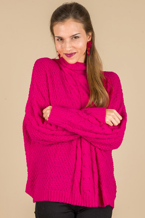 Mock Neck Cable Sweater, Raspberry