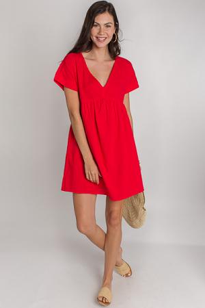 Steph Babydoll Dress, Red
