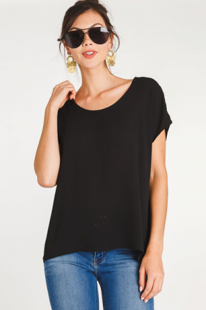 Basic Chiffon Top, Black