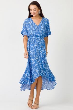 Hi Lo Floral Dress, Blue
