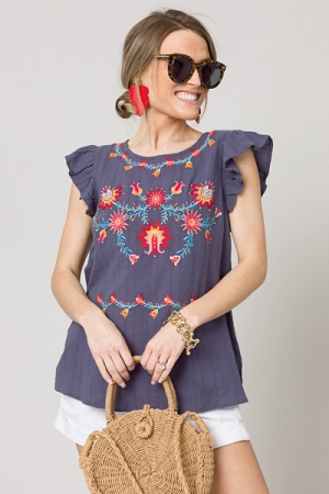 Robinson Embroidery Top, Charcoal