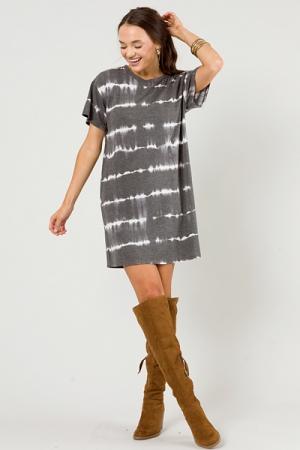Sound Waves Tee Dress, Charcoal