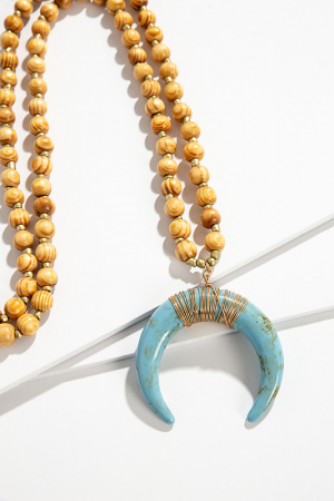 Oversize Horn Necklace, Turq