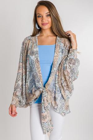 Paisley Taupe Tie Kimono