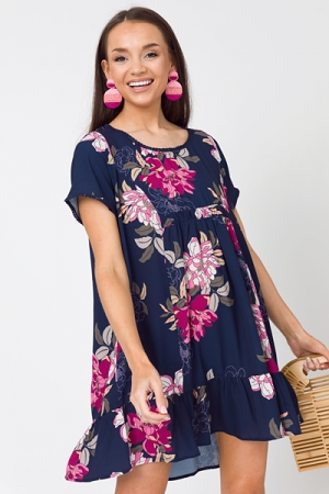 Remi Floral Shift, Navy