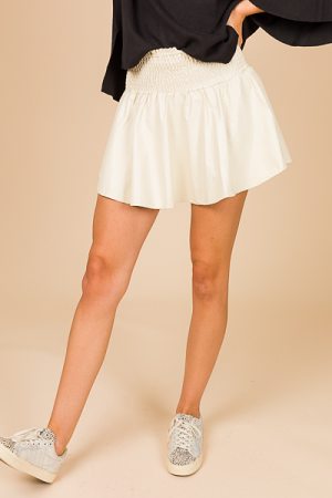 Leather Smock Skort, Cream