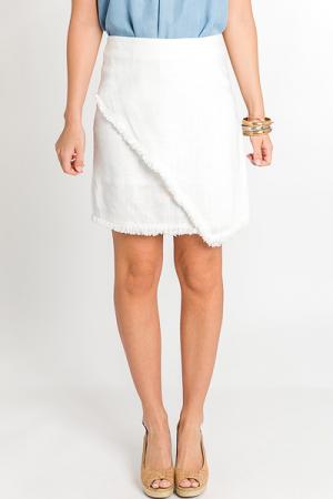Linen Fringe Skirt, White