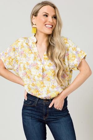 Karlie Floral V Neck Top, Yellow