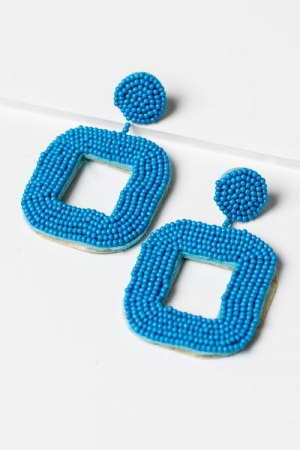 Beads Square Earring, Blue