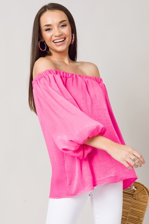 Off Shoulder Satin Top, Fuschia