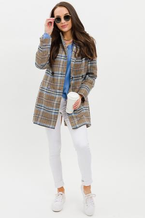 Longer Plaid Jacket, Taupe Blue