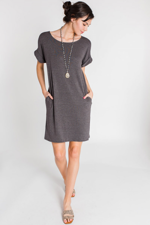 Rolled Sleeve T Shirt Dress, Charcoal
