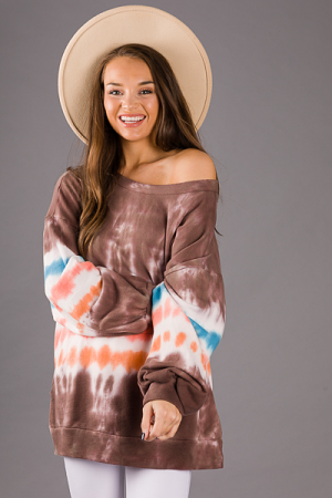 Tie Dye Pouch Pullover, Brown