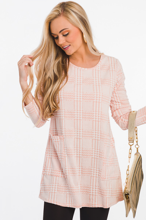 Houndstooth Knit Tunic, Peach