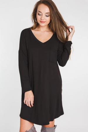 So Soft V Dress, Black