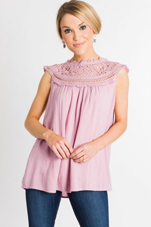 Crochet Shoulders Top, Pink