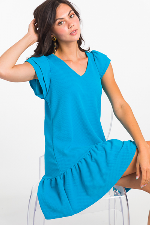 Darby Ruffle Shift, Turquoise
