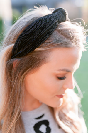 Pleated Black Headband