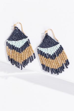 Navy Aztec Beads Earrings