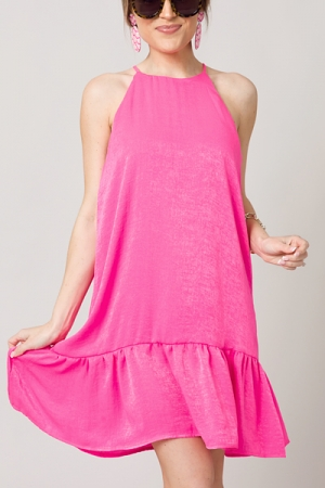 Solid Satin Dress, Fuschia