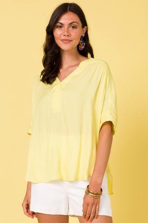 Smooth Oversize Blouse, Lemon