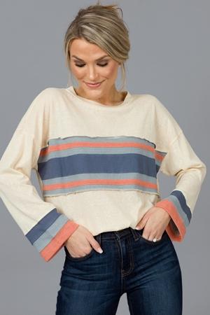Triplet Stripe Knit Top, Oatmeal
