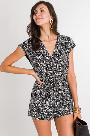 Freckled Romper, Black