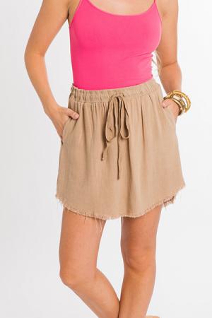 Feeling Frayed Skirt, Latte