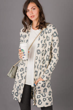 Likely Leopard Long Cardi, Sand