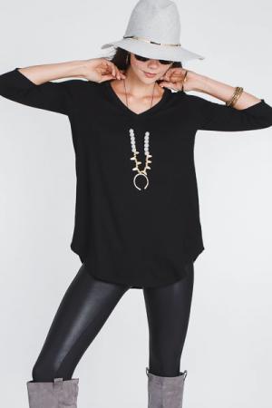 Zeny Knit Tunic, Black