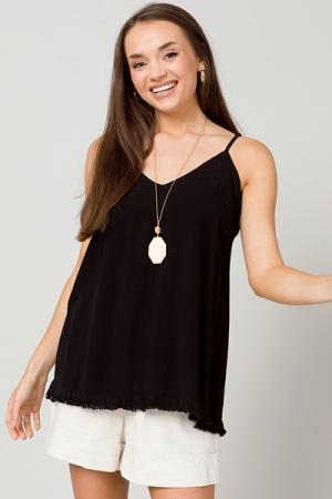 Solid Linen Cami, Black