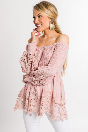Smocked Eyelet Top, Blush