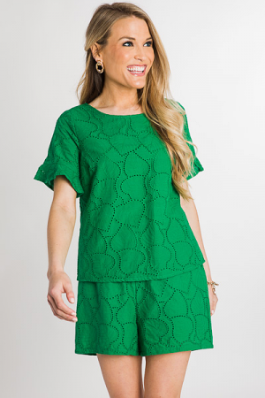Eyelet Leaf Top, Green