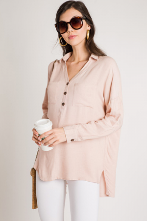 Half Button Tunic, Blush