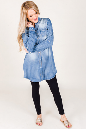 Distressed Chambray Dress