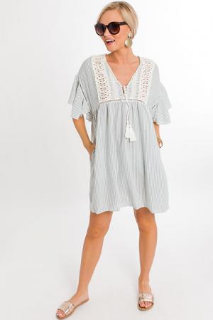 Sage Stripes Boho Dress